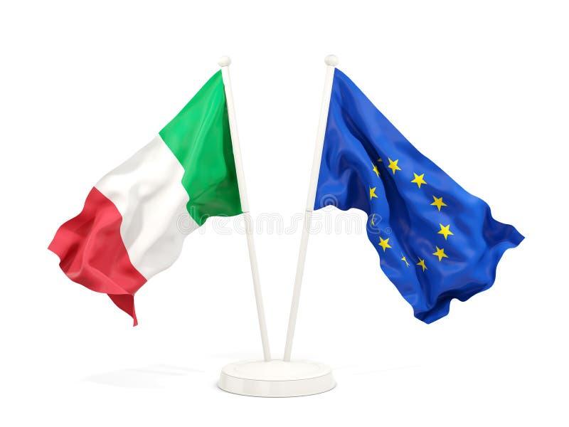 Två vinkande flaggor av Italien och EU vektor illustrationer