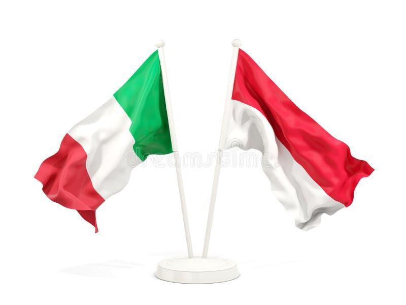 Två vinkande flaggor av Italien och indonesia som isoleras på vit stock illustrationer