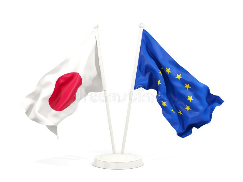 Två vinkande flaggor av Japan och EU stock illustrationer