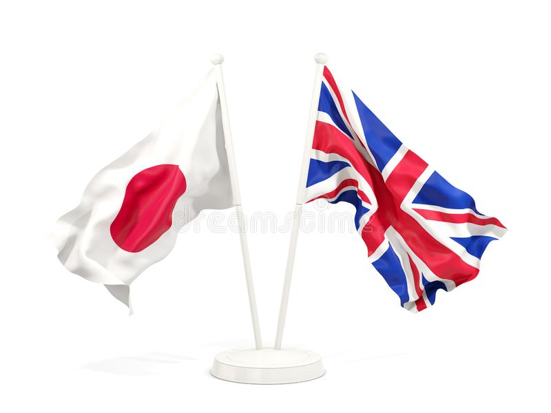 Två vinkande flaggor av Japan och UK vektor illustrationer