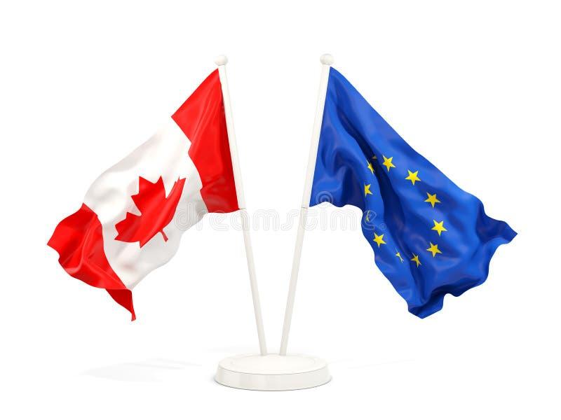 Två vinkande flaggor av Kanada och EU stock illustrationer