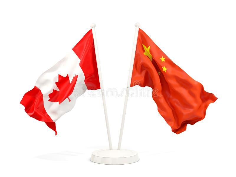 Två vinkande flaggor av Kanada och porslin royaltyfri illustrationer