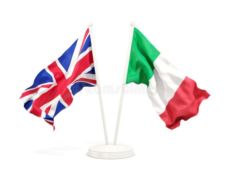 Två vinkande flaggor av UK och Italien royaltyfri illustrationer