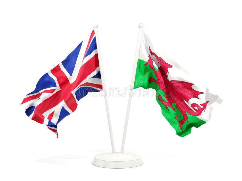 Två vinkande flaggor av UK och Wales stock illustrationer