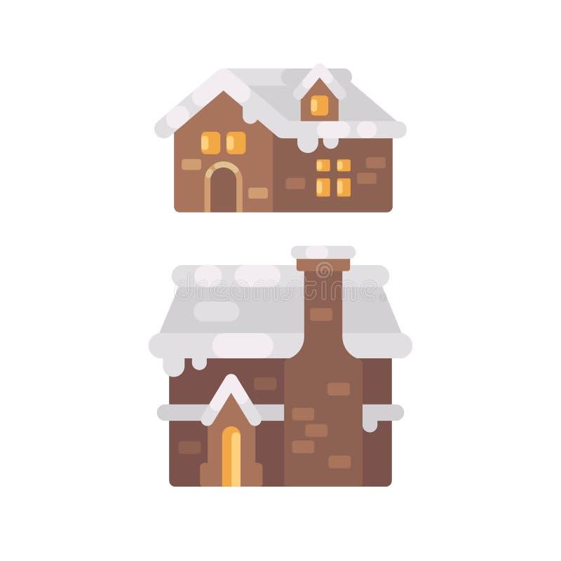 Två vinter hus som täckas med snö Julpepparkakahus royaltyfri illustrationer