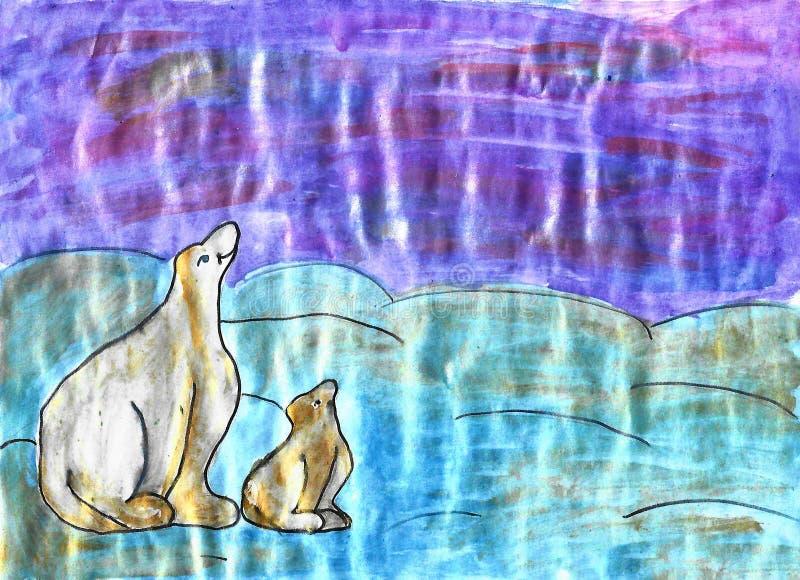 Två vita björnar, barnvattenfärgteckning stock illustrationer