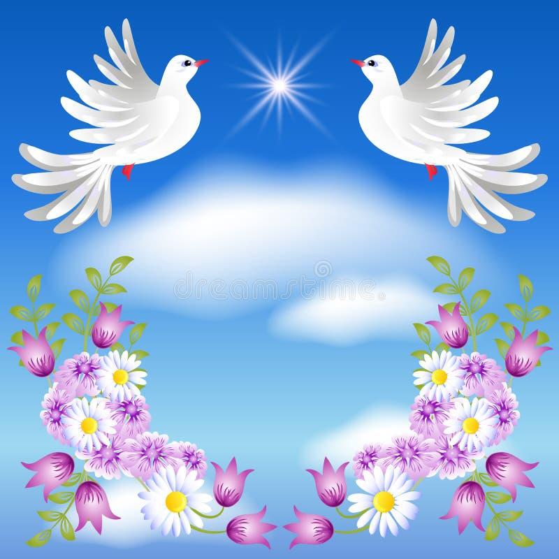 Två vita duvor i himlen stock illustrationer