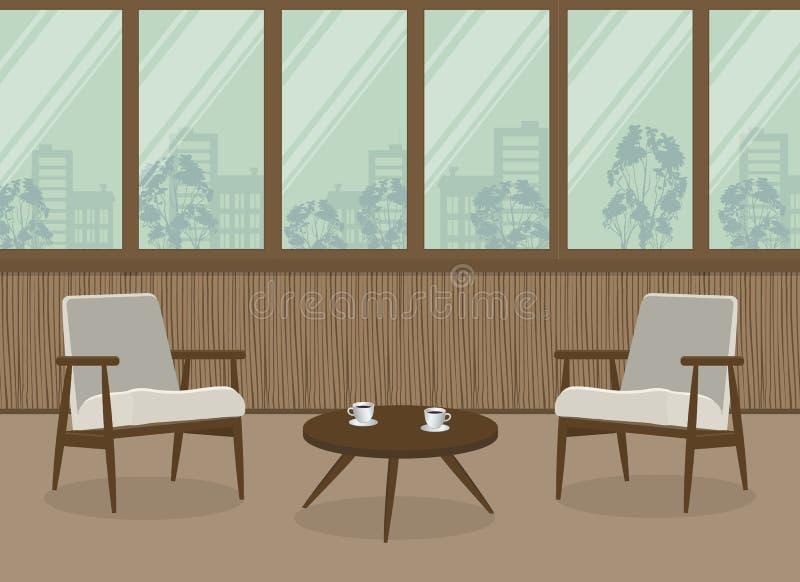 Två vita fåtöljer och en kaffetabell på en fönsterbakgrund stock illustrationer