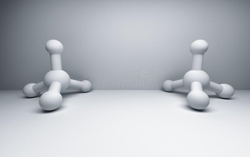 Två vita metangasmolekylar stock illustrationer