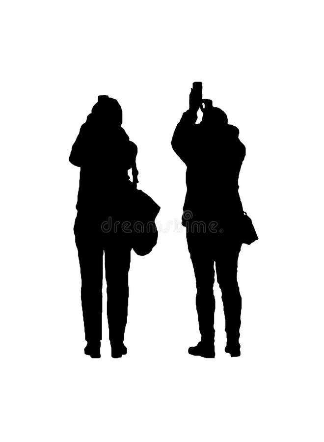 Två vuxna kvinnor som tar fotodiagramkonturn stock illustrationer