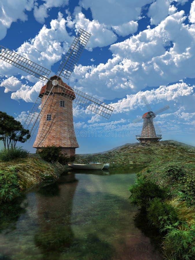 två windmills stock illustrationer