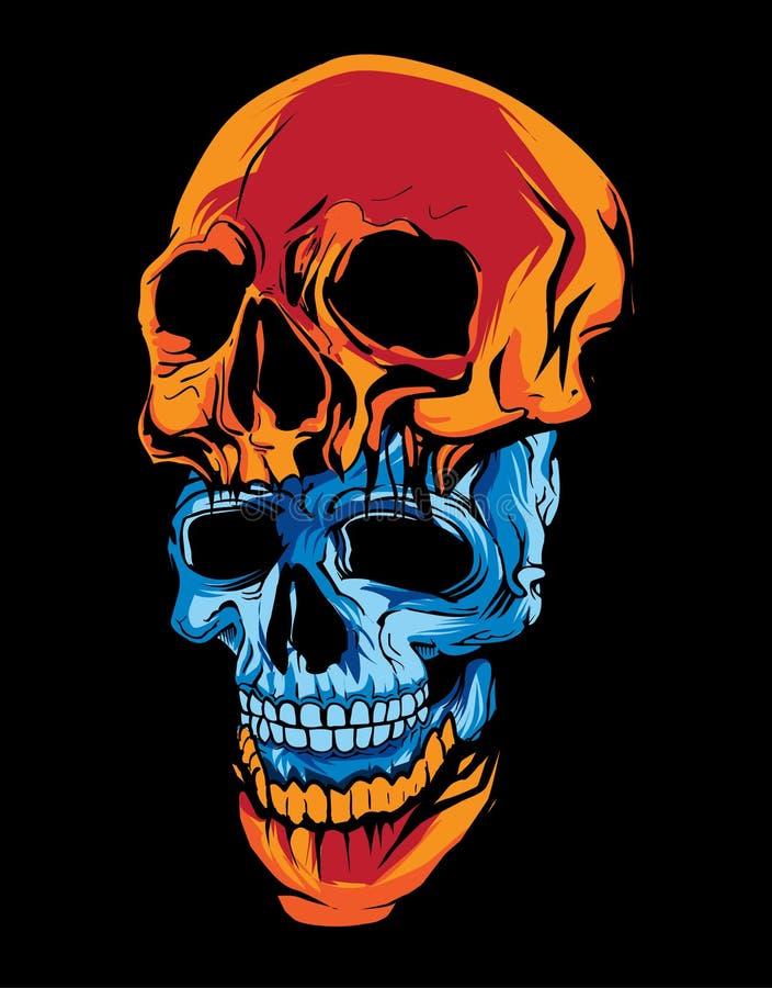tvådelat av det blåa och orange skallehuvudet i mörk bakgrund royaltyfri bild