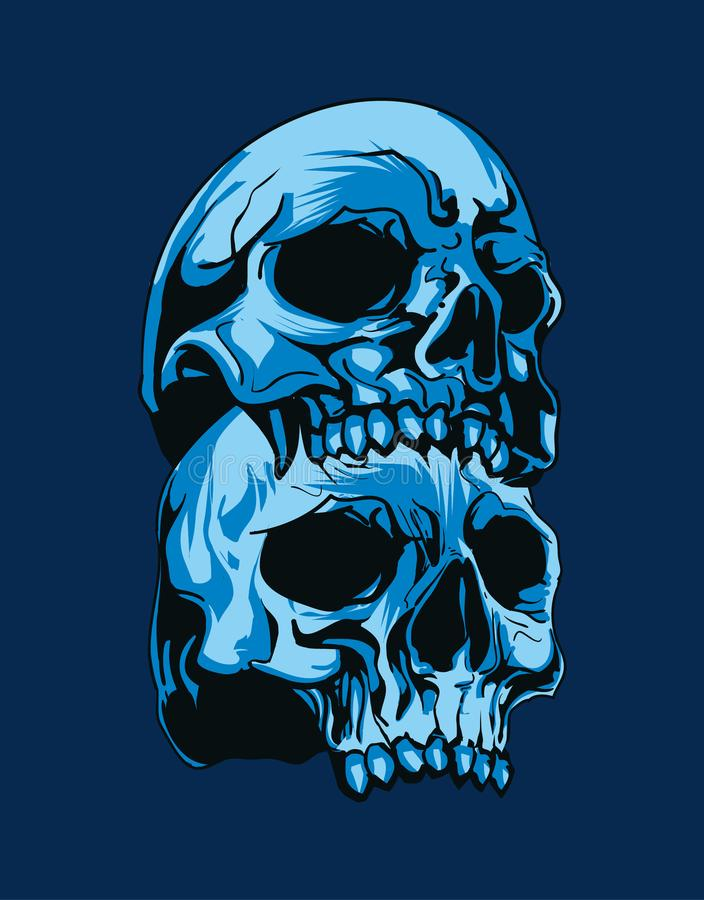 tvådelat av det blåa skallehuvudet i blå bakgrund royaltyfria foton