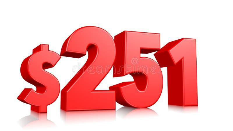 251$ tvåhundra och femtio ett prissymbol rött textnummer 3d att framföra med dollartecknet på vit bakgrund stock illustrationer