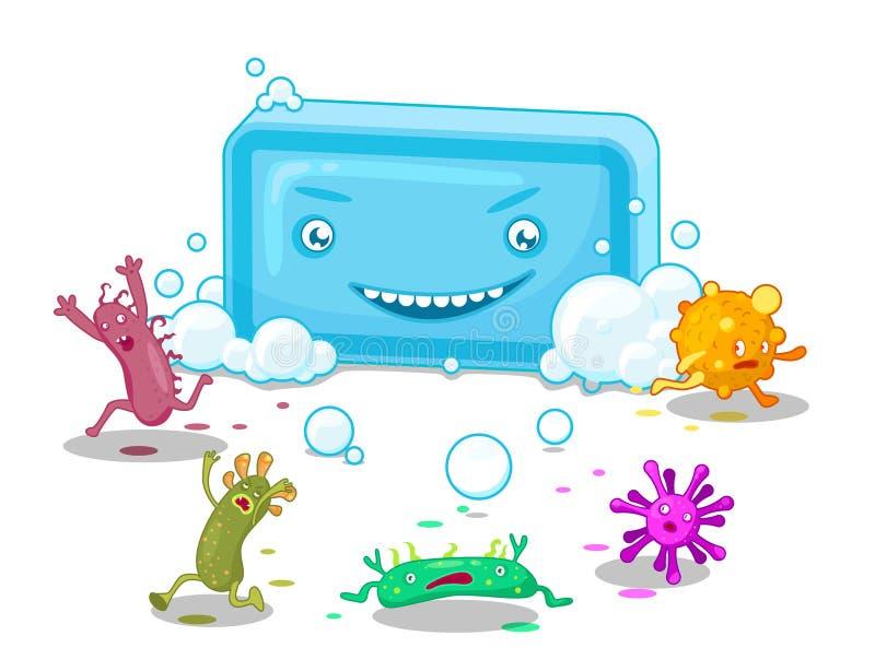Tvål och bakterier royaltyfri illustrationer