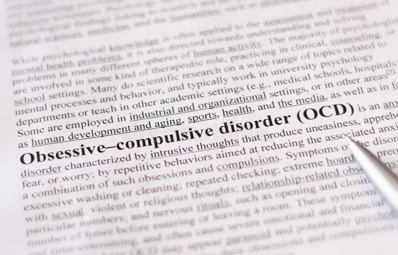 Tvångsmässig tvångsmässig oordning eller OCD. utbildning eller sjukvårdbegrepp/selektiv fokus. royaltyfria foton
