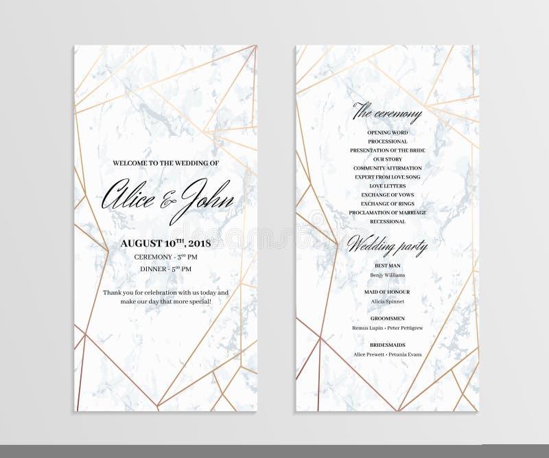 Tvåsidig bröllopprogrammall vektor illustrationer