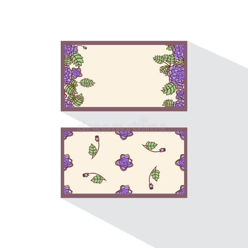 Tvåsidigt kort med abstrakta rosor vektor illustrationer