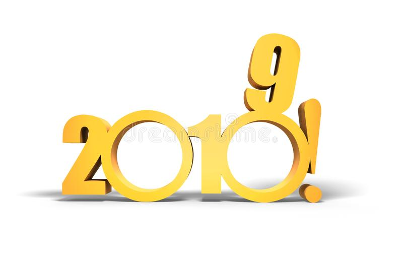 Tvåtusen och nitton Nytt 2019 år på vit vektor illustrationer