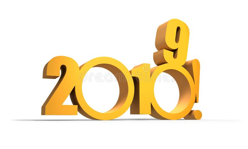 Tvåtusen och nitton Nytt 2019 år på vit stock illustrationer