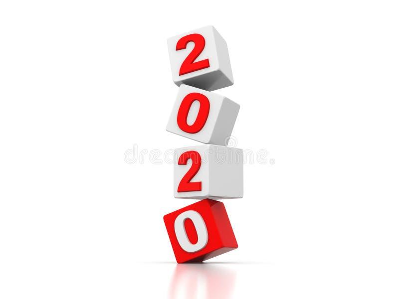 Tvåtusen tjugo indikerar att tolkningen 3d för nytt år 2020 lagerför fotoet vektor illustrationer