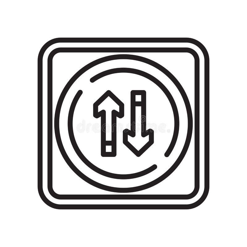 Tvåvägssymbolsvektortecken och symbol som isoleras på vit bakgrund, tvåvägslogobegrepp stock illustrationer