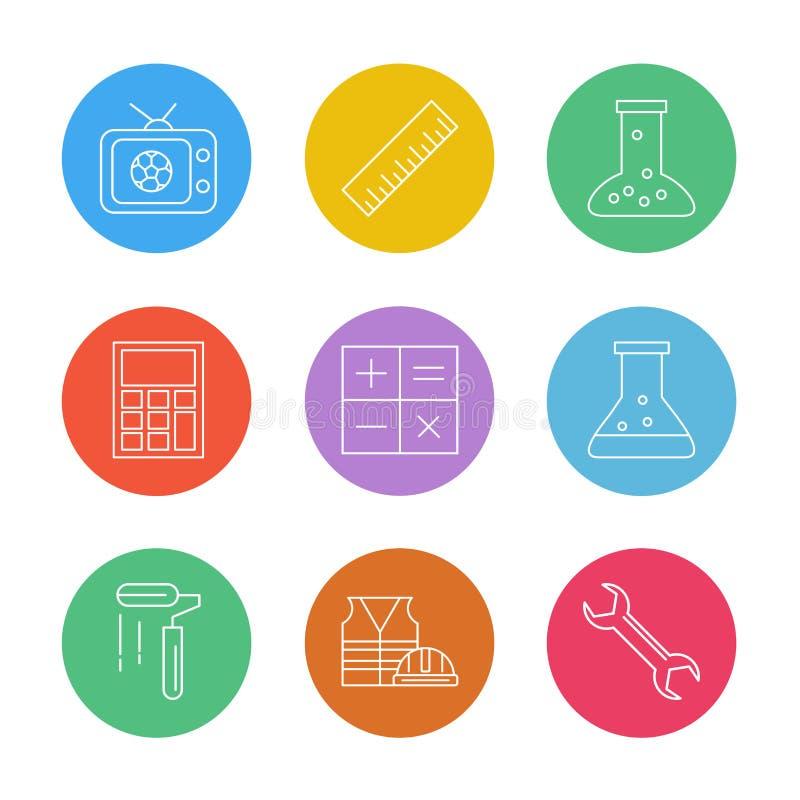 TV, échelle, becher, calculatrice, maths, flacon chimique, peinture illustration stock