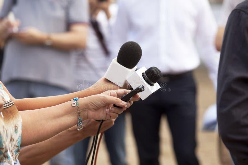 Συνέντευξη MEDIA στοκ φωτογραφίες