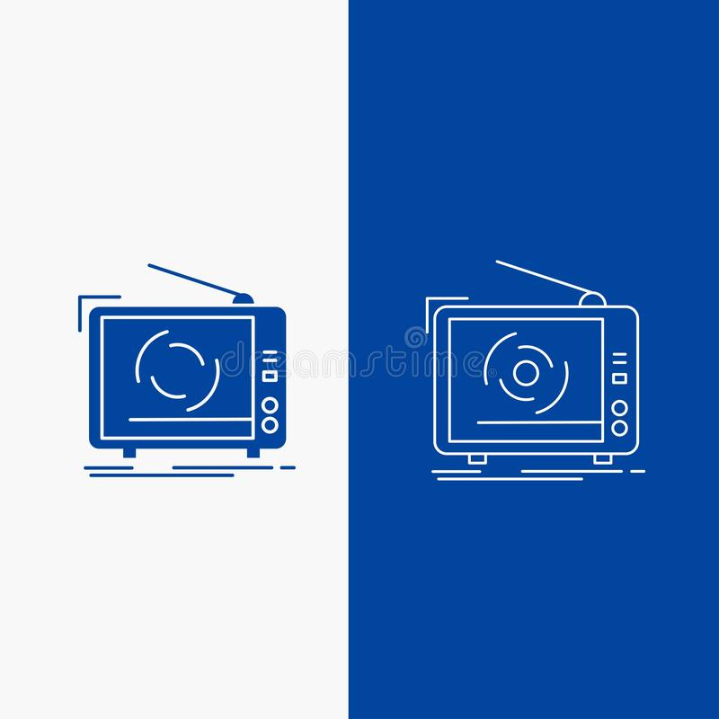 TV, αγγελία, διαφήμιση, τηλεόραση, καθορισμένα γραμμή και κουμπί Ιστού Glyph στο μπλε κάθετο έμβλημα χρώματος για UI και UX, ιστο ελεύθερη απεικόνιση δικαιώματος