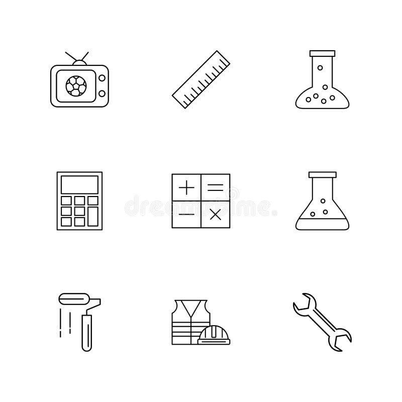 TV, κλίμακα, κούπα, υπολογιστής, μαθηματικά, χημική φιάλη, χρώμα ελεύθερη απεικόνιση δικαιώματος