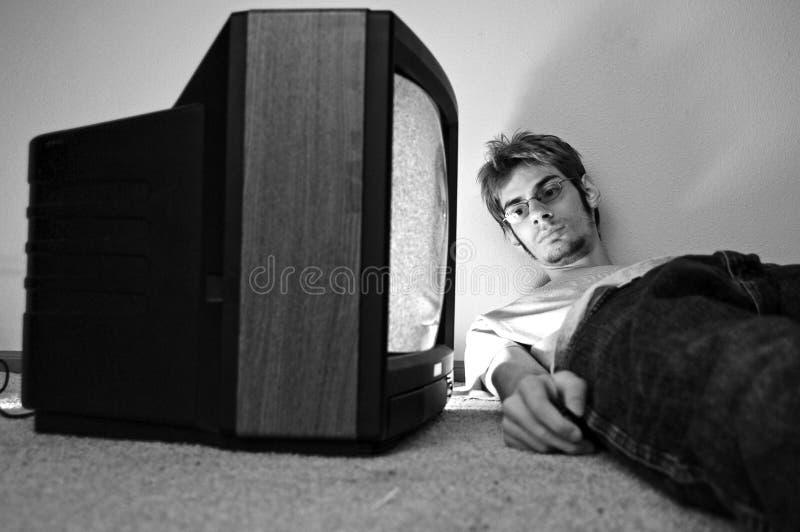 TV προσοχής στο πάτωμα στοκ εικόνες