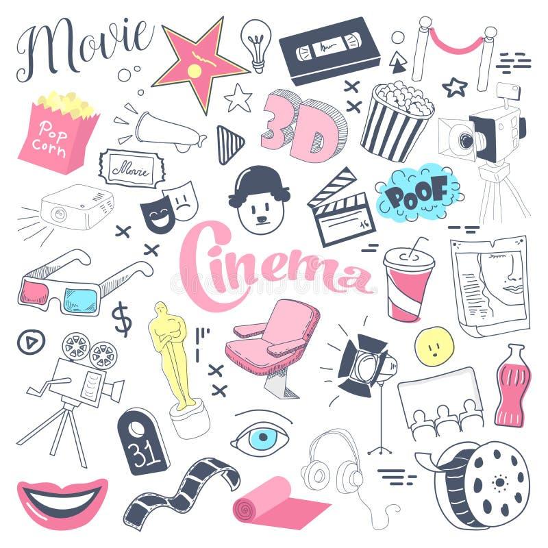 TV συρμένο χέρι Doodle κινηματογράφων με τα γυαλιά, το εξέλικτρο ταινιών και το λαϊκό καλαμπόκι Ελεύθερα στοιχεία κινηματογραφίας διανυσματική απεικόνιση