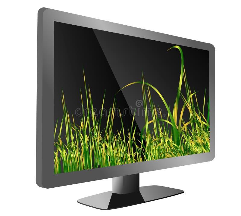 Tv с травой стоковое изображение