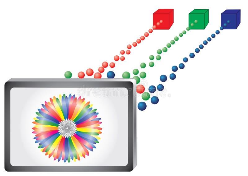 Tv. Color picture tube screen (monitor stock illustration