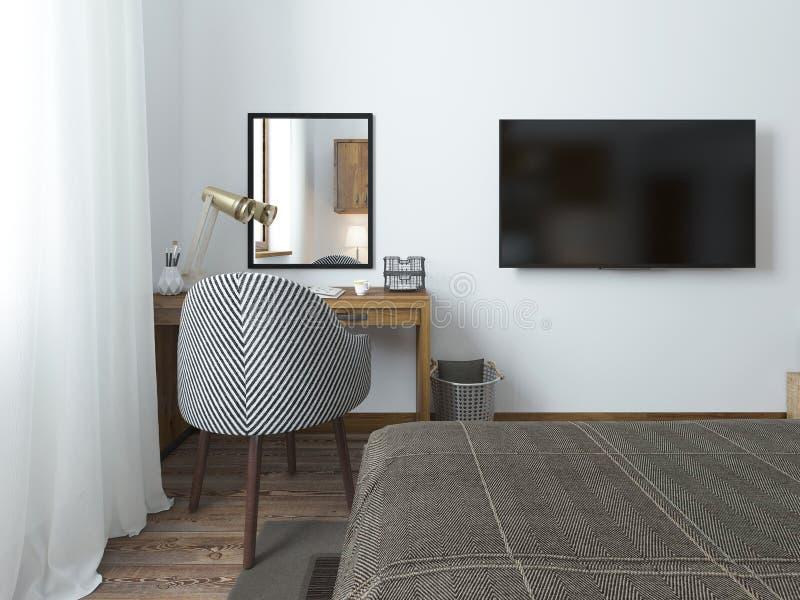 tv accrochant sur le mur et le bureau dans la chambre coucher dans le grenier image stock. Black Bedroom Furniture Sets. Home Design Ideas