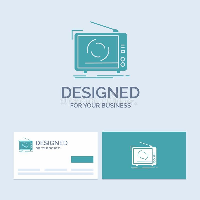 tv, ad, advertising, television, set Business Logo Glyph Icon Symbol for your business. Turquoise Business Cards with Brand logo vector illustration