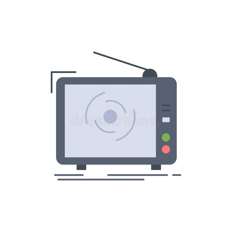 tv, ad, advertising, television, set Flat Color Icon Vector vector illustration