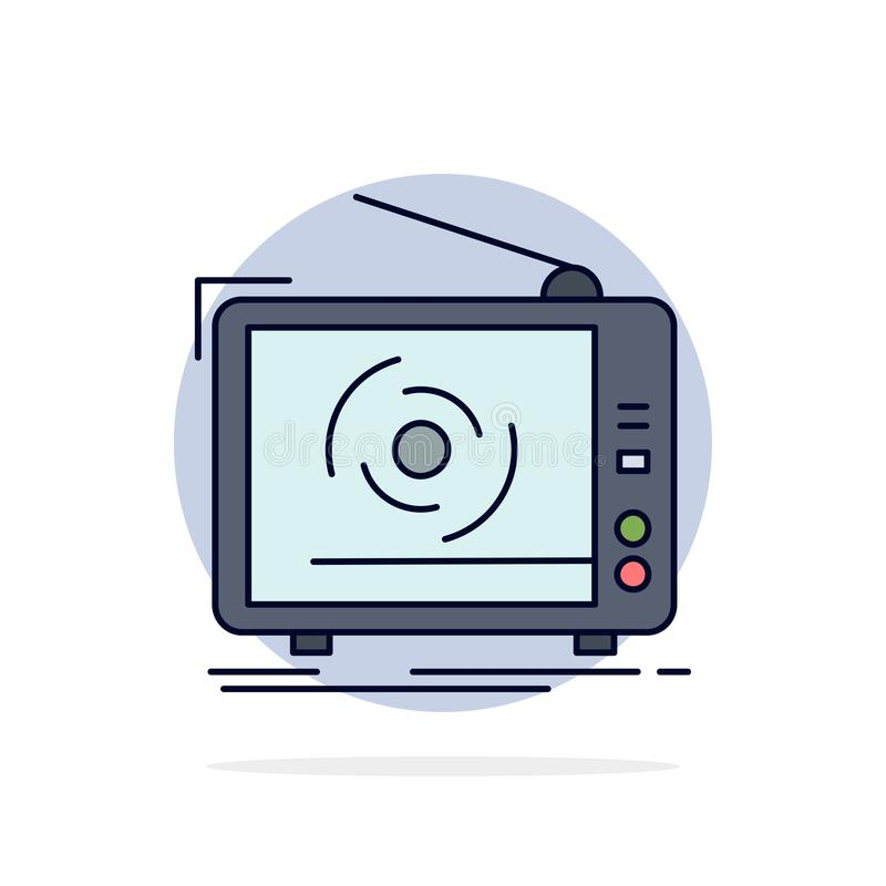 tv, ad, advertising, television, set Flat Color Icon Vector stock illustration