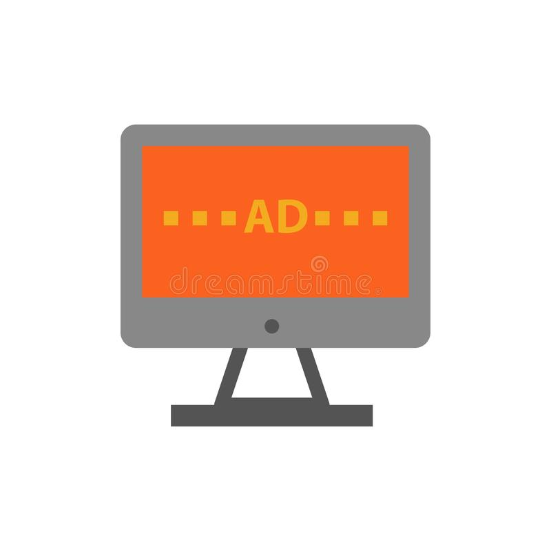 TV, Ad, Television, Screen, Lcd  Flat Color Icon. Vector icon banner Template royalty free illustration