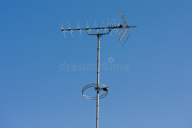 Download TV Aerial With Blue Sky Background Stock Photo - Image of appliance, antennae: 20094938