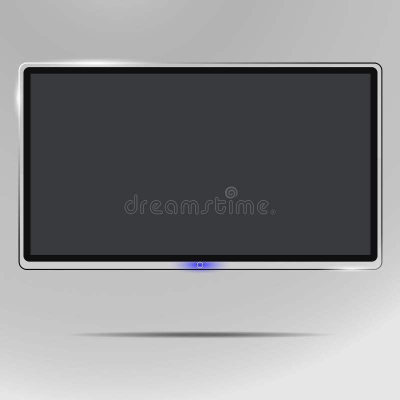 TV, affissione a cristalli liquidi moderna dello schermo in bianco, principale, sul fondo dell'isolato, l'illustrazione alla moda illustrazione vettoriale