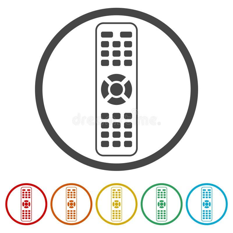 TV-afstandsbedieningpictogram, 6 Inbegrepen Kleuren vector illustratie