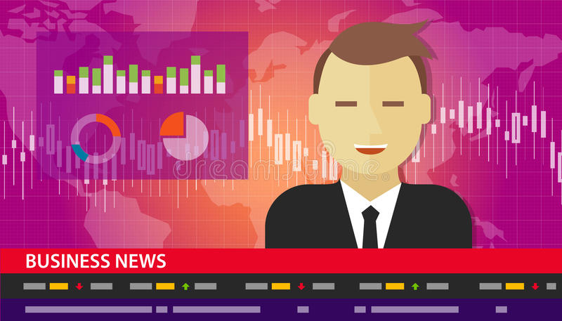 Tv anchor news business report diagram chart vector illustration