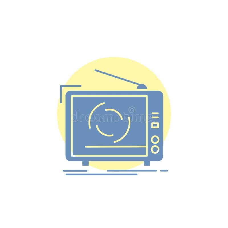 TV, annonce, la publicit?, t?l?vision, ic?ne r?gl?e de Glyph illustration de vecteur