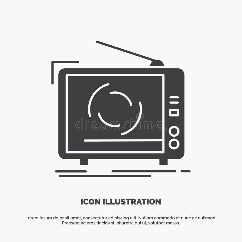 TV, annonce, la publicit?, t?l?vision, ic?ne r?gl?e symbole gris de vecteur de glyph pour UI et UX, site Web ou application mobil illustration libre de droits