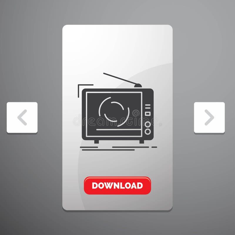 TV, annonce, publicité, télévision, icône réglée de Glyph dans la conception de glisseur de paginations de beuverie et bouton rou illustration de vecteur