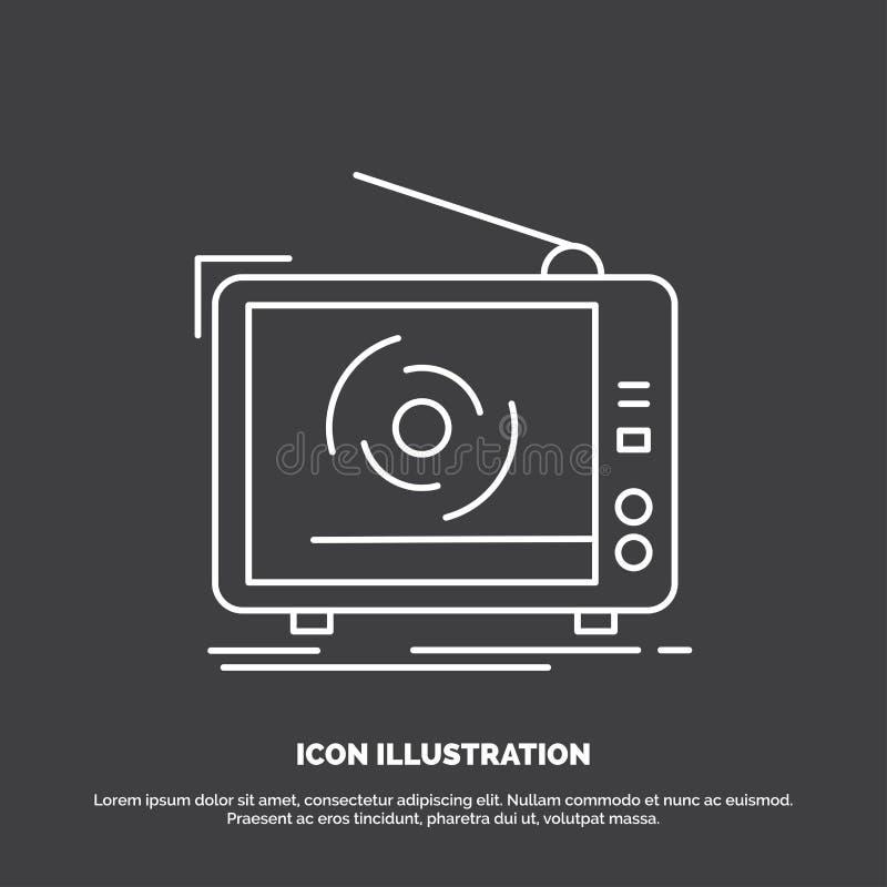 TV, annuncio, pubblicità, televisione, icona stabilita Linea simbolo di vettore per UI e UX, sito Web o applicazione mobile illustrazione vettoriale