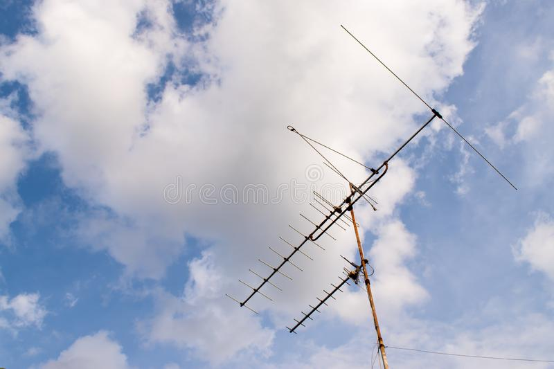 TV antenna on the roof of the old house. Thailand. royalty free stock photography