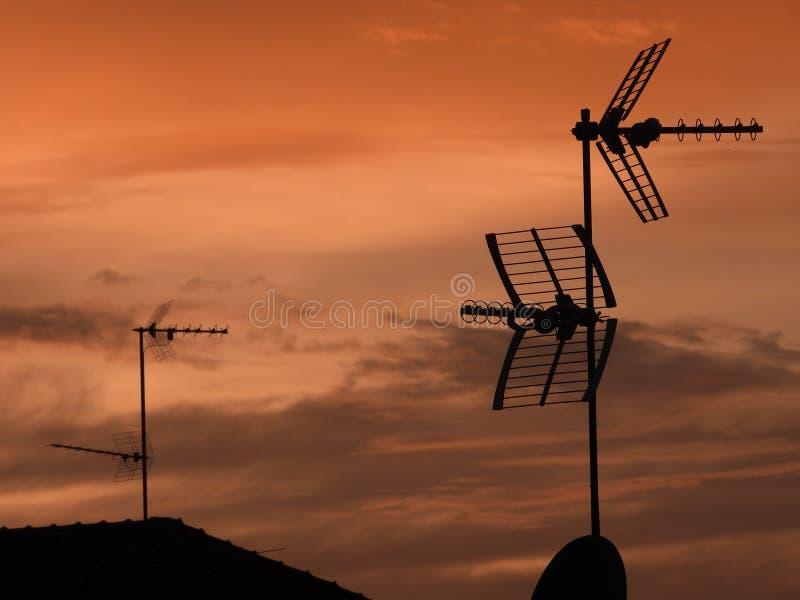 TV antennas stock images