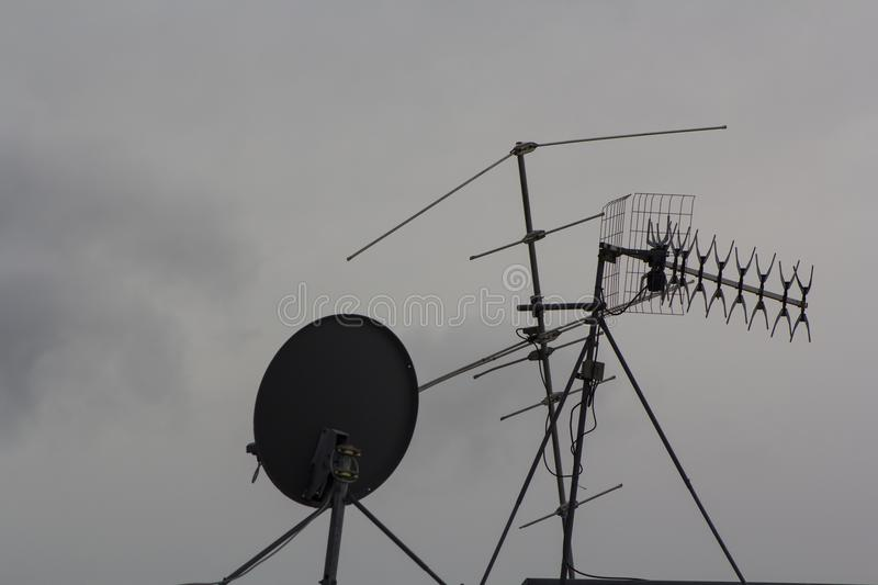 TV-antennes stock foto's